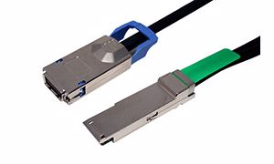 Picture of SFF-8470 to SFF-8436 CX4 - QSFP+, 4X w/Ejectors, for Infiniband Applications (DDR/SDR)