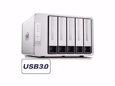 Picture of TerraMaster D5-300C USB 3.0 (5Gbps) Type C 5-Bay RAID Enclosure Support RAID 0/1/Single Exclusive 2+3 RAID Mode Hard Drive RAID Storage