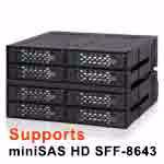 "Picture of ToughArmor MB508SP-B Rugged Full Metal 8 Bay 2.5"" SAS/SATA SSD/HDD Backplane Cage for 2x External 5.25"" Bay"